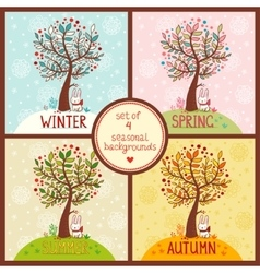 set 4 seasonal backgrounds with tree vector image