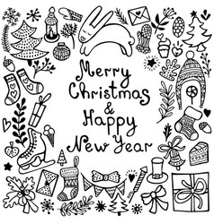 set cute hand-drawn christmas elements vector image