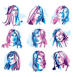 set of colorful art portraits of females drawn vector image