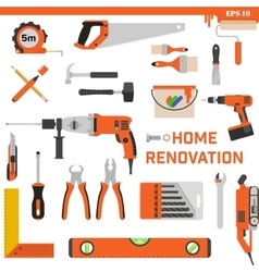 Set of construction tools on a white background vector image