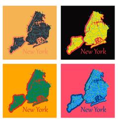 Set of new york city map - flat vector
