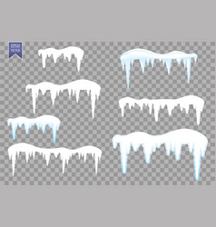 Set of snow icicles snow cap isolated on vector