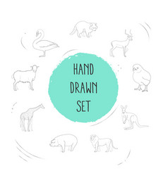 Set of zoo icons line style symbols with sheep vector