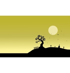 Silhouette of tomb and fields vector