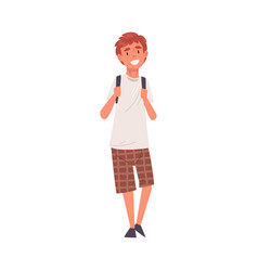 Smiling guy standing with backpack happy student vector