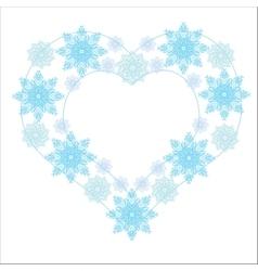 Snowflake heart winter vector image