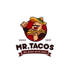sombrero hat tacos mexican restaurant logo mascot vector image