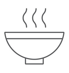 soup thin line icon food and meal hot soup bowl vector image