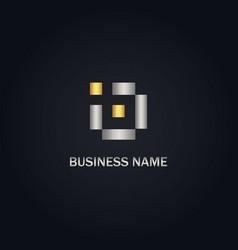 square digital initial gold logo vector image