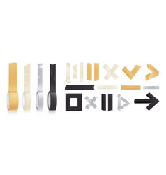 Sticky adhesive tape rolls realistic icon set vector