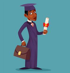 student afroamerican afroeuropean graduate cartoon vector image