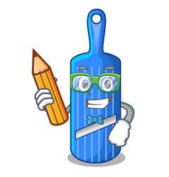 Student character vintage wooden shredder slicer vector