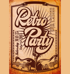 stylish color retro party template with guitars vector image