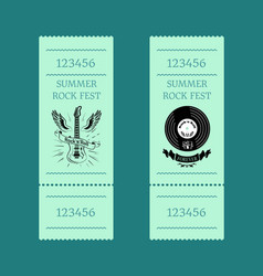 Summer rock fest set of tickets on blue-green vector