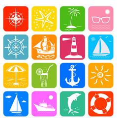 summer sea ocean vacation travel cruise icons set vector image