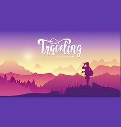 Tourist traveler with binoculars at sunset vector