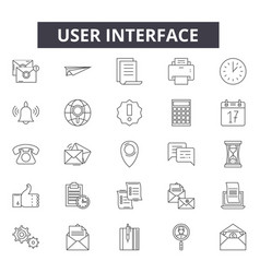 user interface line icons signs set vector image