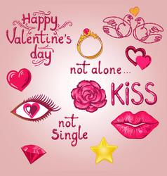 valentine sticker pack vector image