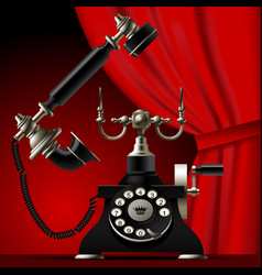 Vintage telephone with a red curtain on dark red vector