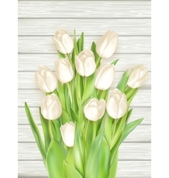 White tulips on light wooden background EPS 10 vector