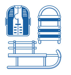 winter sleds icons set vector image