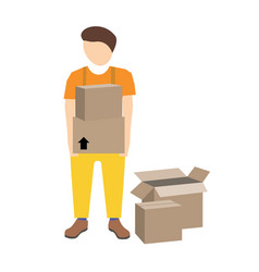 Young mover with cardboard boxes vector