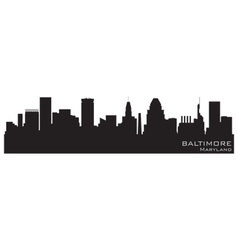 baltimore maryland skyline detailed silhouette vector image vector image