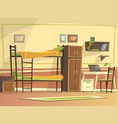 Cartoon student dormitory room interior vector