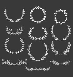 Hand Drawn Laurels Wreaths Doodle Set vector image vector image