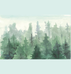 hand drawn painting of winter forest landscape vector image vector image