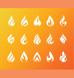 Set of white fire flame icons and logo isolated on vector