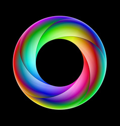 Spiral ring sparkling in bright colors on black vector