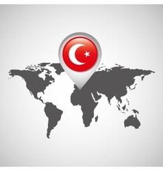 turkey flag pin map design vector image vector image