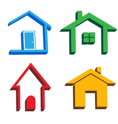 3D houses icons vector image vector image