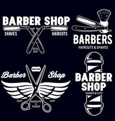 barber shop badges set barbers hand lettering vector image vector image