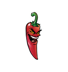 evil red hot chili pepper vector image vector image