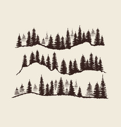 vintage engraving forest doodle sketch fir-trees vector image