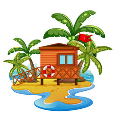 scene with lifeguard house on beach vector image vector image