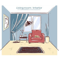 Sketchy of living room interior color hand d vector image