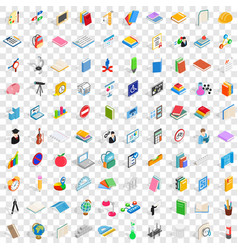 100 college and school icons set vector image vector image