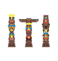 cartoon traditional religious totem color columns vector image vector image