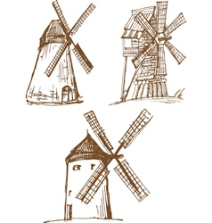 hand drawn sketched old mills vector image