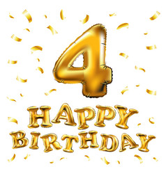 happy birthday 4 four gold balloon celebration vector image