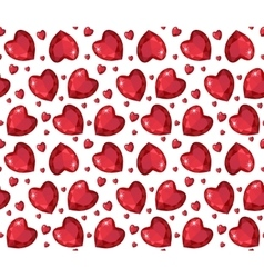 Jewelry ruby red heart seamless pattern Brilliant vector image vector image