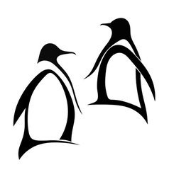 Two silhouette of penguin vector image vector image