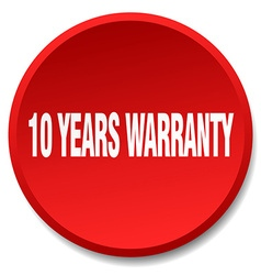 10 years warranty red round flat isolated push vector
