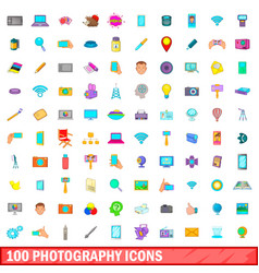 100 photography icons set cartoon style vector image vector image