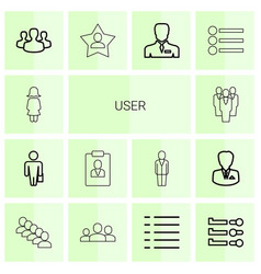 14 user icons vector