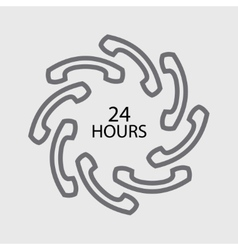 24 hours handset icon vector