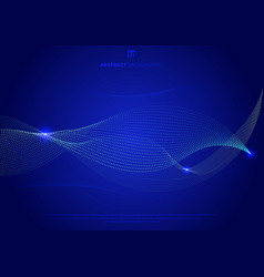 abstract blue curve particles glowing on dark vector image